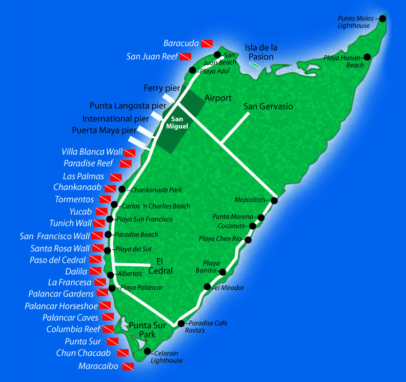 Cozumel Dive Site Map